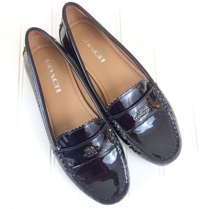 Coach Odette black patent leather moc loafers